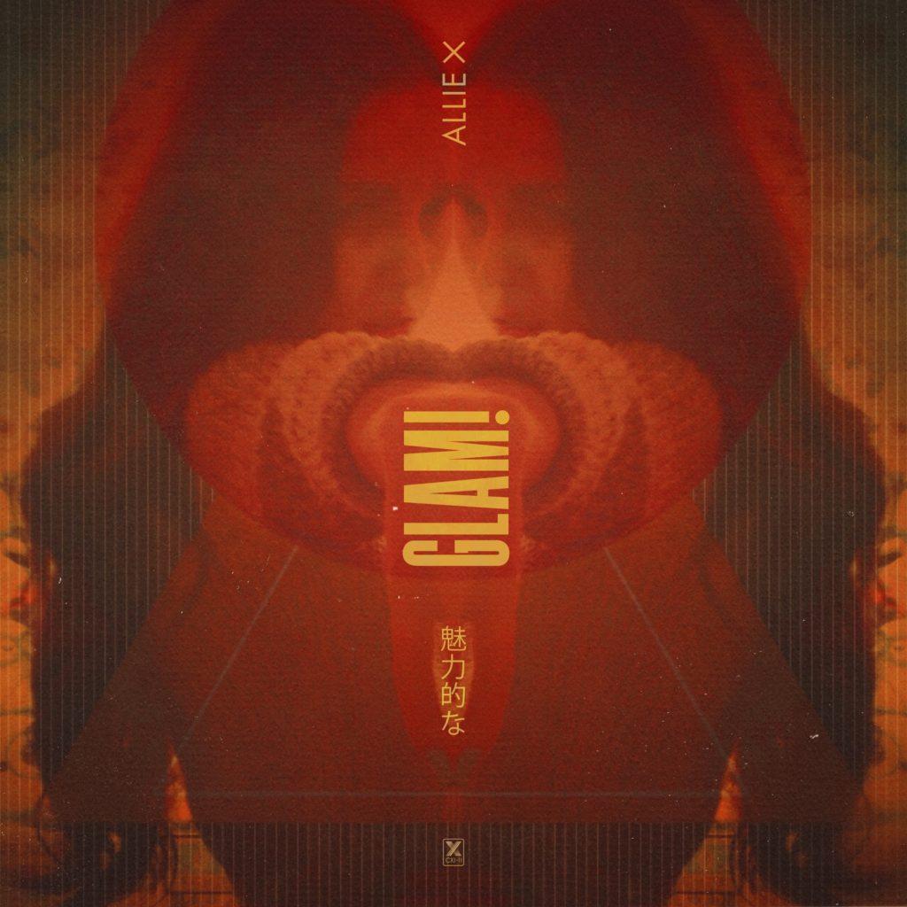 Capa do single GLAM!, de Allie X. A cantora aparece espelhada no centro da imagem, olhando em direção à câmera de perfil. Foi adicionado um filtro avermelhado em toda a fotografia. Ao centro, foi adicionado os escritos ALLIE X, GLAM! e palavras em japonês.