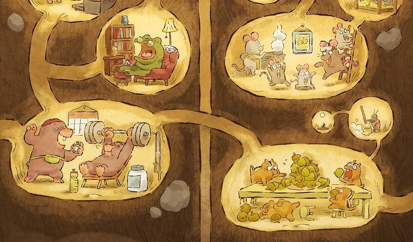 Imagem do filme Toca. Na imagem é possível ver várias tocas e seus respectivos donos. No canto superior esquerdo um sapo senta em uma poltrona de sua toca que tem ao fundo uma estante de livros e um abajur. No canto superior à direita, uma família de 5 ratos habita sua toca, que possui um fogão, um quadro e uma escada. No canto inferior esquerdo, 2 furões cinzas fazem exercício em sua toca, levantando peso. No canto inferior direito, os esquilos ocupam sua toca, que possui uma mesa recheada de nozes que eles estão comendo. Há ainda uma pequena toca, habitada por uma formiga, que está com uma vassoura. Todas as tocas são interligadas por caminhos de terra abertos.