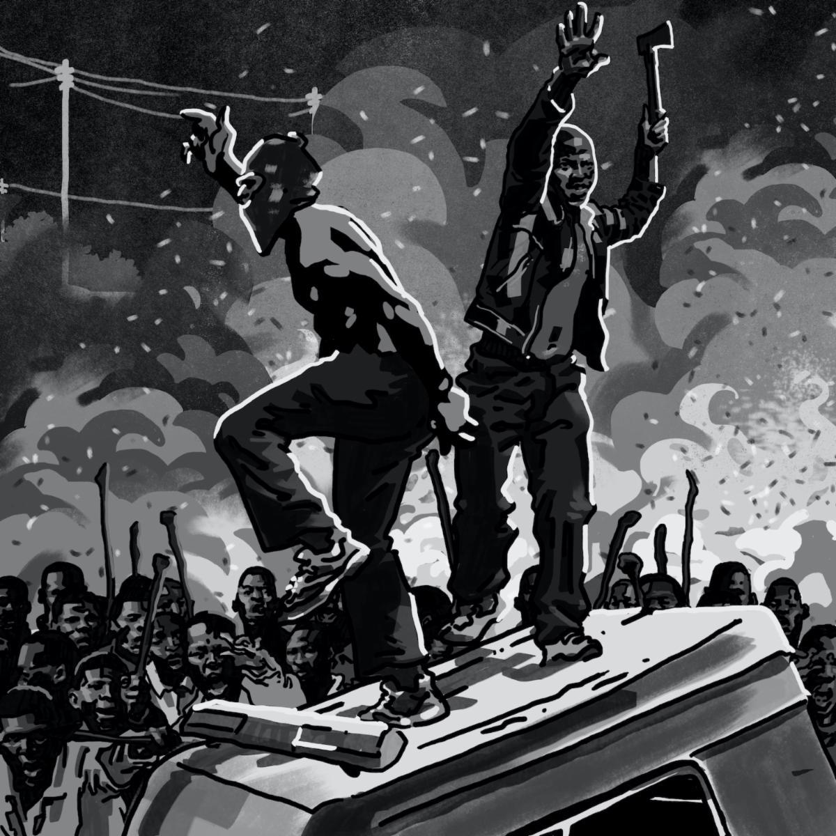 Capa do single Rainforest, da rapper Noname. Uma ilustração em preto e branco de um protesto protagonizado por manifestantes pretos. Uma multidão brande objetos enquanto o fogo ruge atrás deles. Dois manifestantes se erguem em cima de um veículo no centro da imagem. Um deles fala com a multidão usando uma máscara enquanto o outro está virado para a frente brandindo uma machadinha.