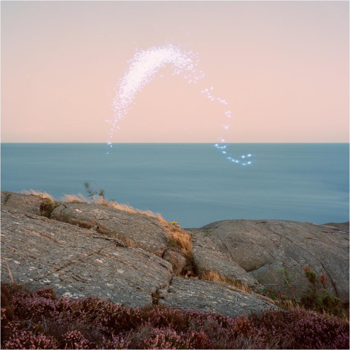 Capa do disco An Overview on Phenomenal Nature, da cantora Cassandra Jenkins. A foto é uma paisagem marinha. O céu é rosa, o mar, azul. Vemos as pedras marrons tomarem parte da imagem e um esguichar branco forma um S deitado acima do mar. Está de dia.