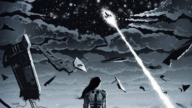 Ilustração de capa do livro Skyward. No centro da ilustração vemos uma garota de cabelos soltos, de costas e olhando para o céu. Ao redor, há vários destroços de espaçonave. Mais acima uma nave corta os céus, deixando um rastro branco, rumo a um céu estrelado. Toda a ilustração é composta por tons diferentes de cinza e preto.