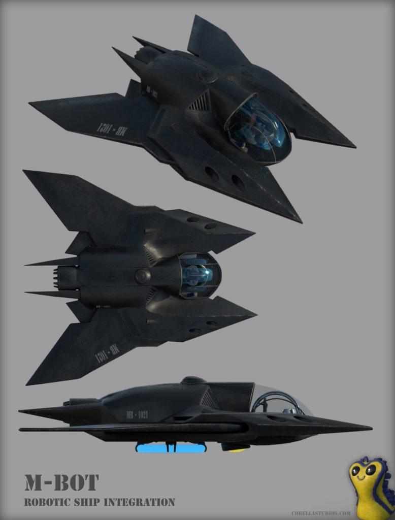 Ilustração 3D de uma das naves da história de Skyward. A nave é cinza escuro, com formas triangulares, e possui uma cabine redonda na frente, coberta por um vidro azul. A imagem apresenta ela de três ângulos diferentes, primeiro, na transversal, depois, de cima e depois de lado.