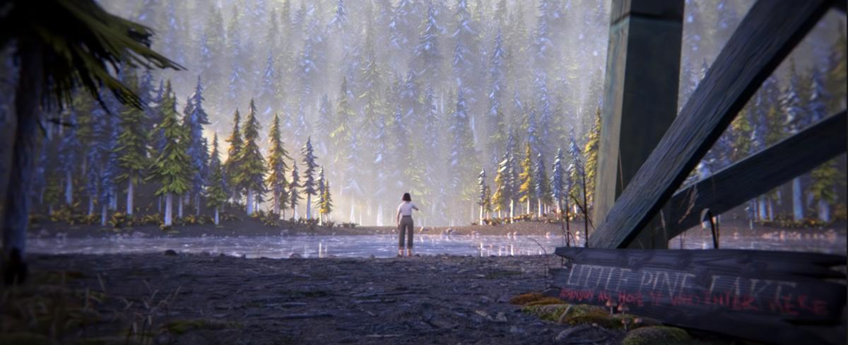 Cena da animação 100,000 Acres of Pine. Nela, um homem está ao centro, bem pro fundo. Ele está de costas e usa calça cinza e blusa branca. Ele olha em direção a floresta, que cobre todo o resto da imagem com suas árvores.