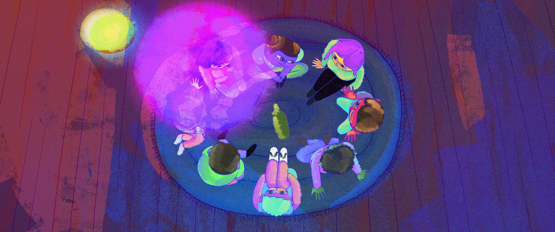 Cena da animação Friend of a Friend. Vemos, de cima, um grupo de adolescentes sentados em roda com uma garrafa no centro. As cores predominantes na=o desenho são o roxo, o azul e o verde-água em estilo neon.