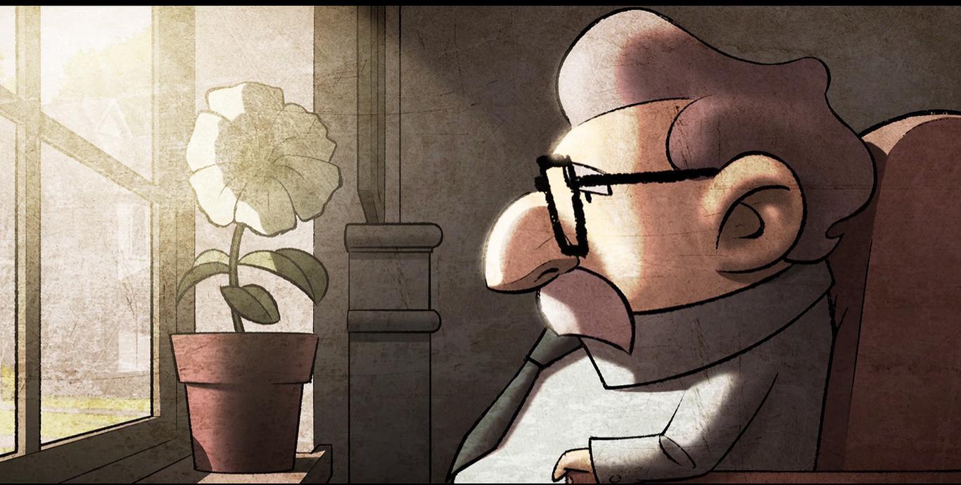 Cena da animação El Hombre que Nunca Vio Llover. Um idoso está sentado de perfil, olhando para a esquerda. Ele possui um nariz grande, usa óculos pretos, é branco e possui bigode e cabelos grisalhos. A sua frente, há uma janela com luz do sol entrando. No batente, uma flor branca está em um vaso.