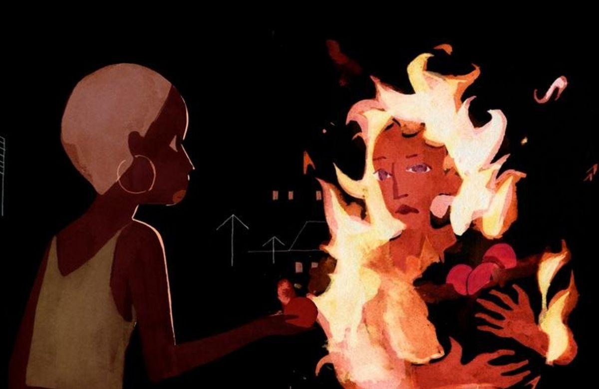 Cena da animação Genius Loci. À direita, vemos um mulher em chamas segurando um saco de frutas nas mãos. À esquerda, uma mulher negra de cabelos loiros rentes a cabeça olha em frente. Ela usa regata verde e brincos de argola.