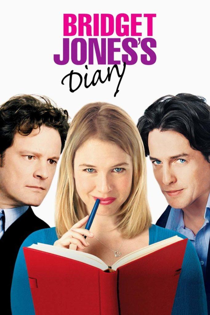 Pôster do filme O Diário de Bridget Jones. No topo centralizado, com fundo branco, pode-se ler Bridget em rosa, Jones's em roxo e Diary em preto. Abaixo, os três personagens do filme. À esquerda, Colin Firth usa terno e olha para a direita. No meio, Renée Zellweger usa blusa azul, segura um livro de capa vermelha com uma mão e uma caneta azul e olha para a câmera. À direita, Hugh Grant usa terno e encara a câmera com um meio sorriso.