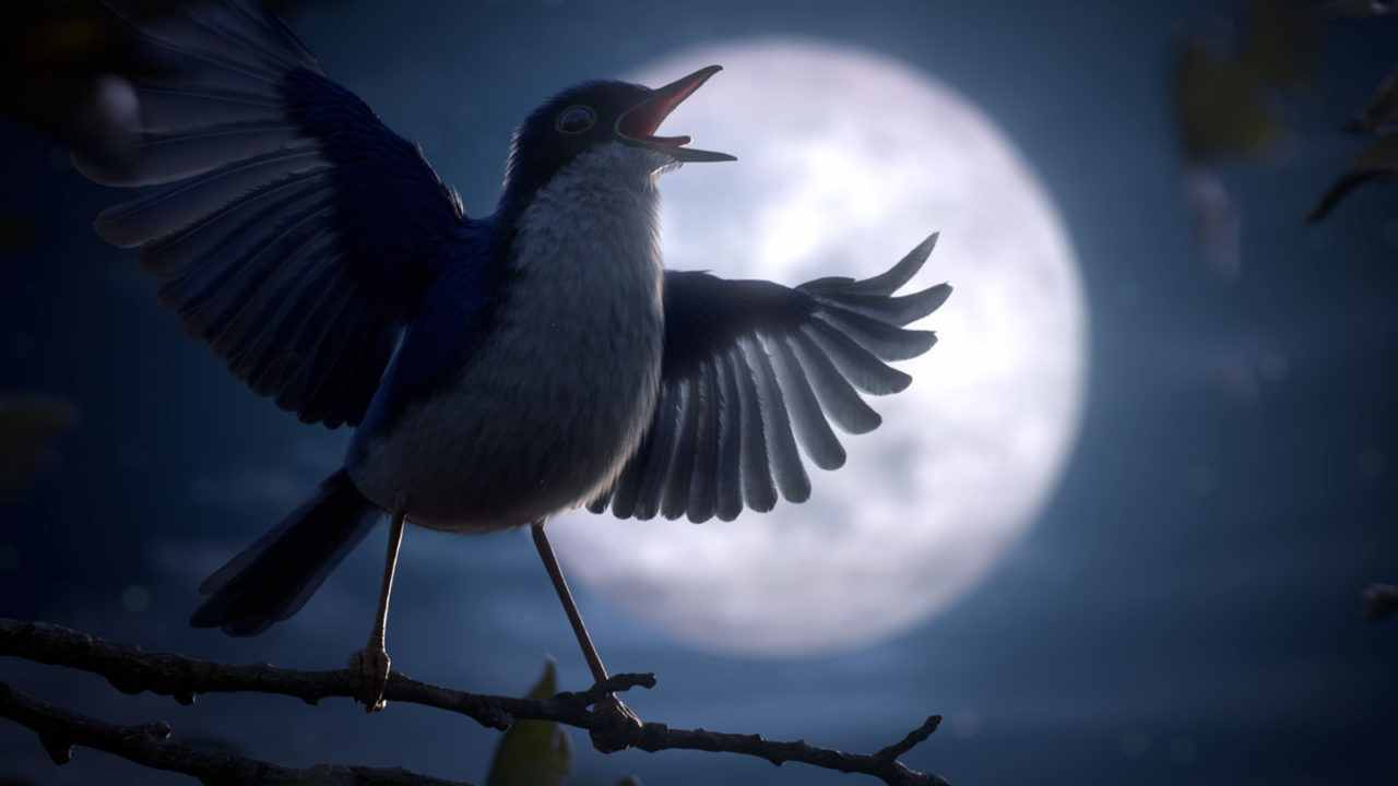 Cena da animação Maestro. Nela, um passáro de penagem azul e branca com as asas e o bico abertos. Ele está em cima de um galho fino. Atrás, o céu azul estampa uma grande lua cheia.