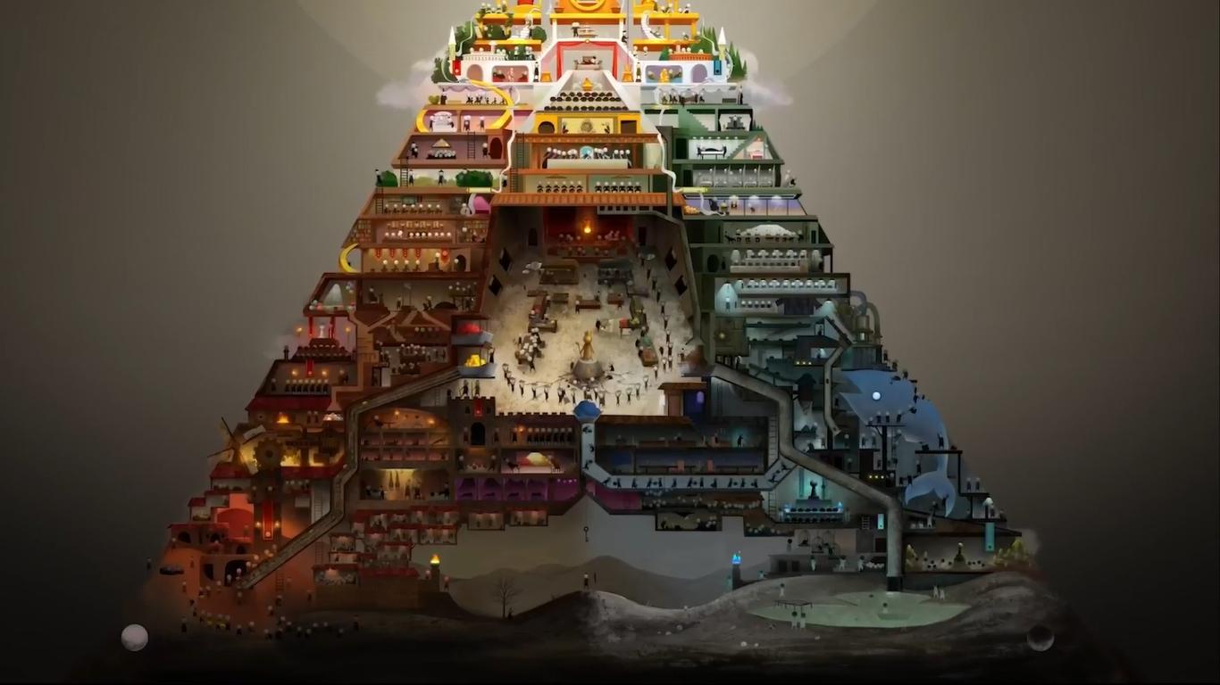 """Imagem do filme Opera. A imagem mostra uma pirâmide com pequenos """"setores"""", cada setor realiza uma atividade diária. A base é escura e sombria enquanto o topo é iluminado e mais colorido. Ao fundo é possível ver uma tela preta e algumas nuvens ao topo."""