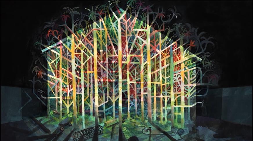 Imagem do filme Genius Loci. Ao centro, o desenho de uma casa, cheia de ramificações, como uma árvore, com diferentes cores projetadas sobre ele. Ao fundo, os reflexos da casa contrastam com o fundo preto.