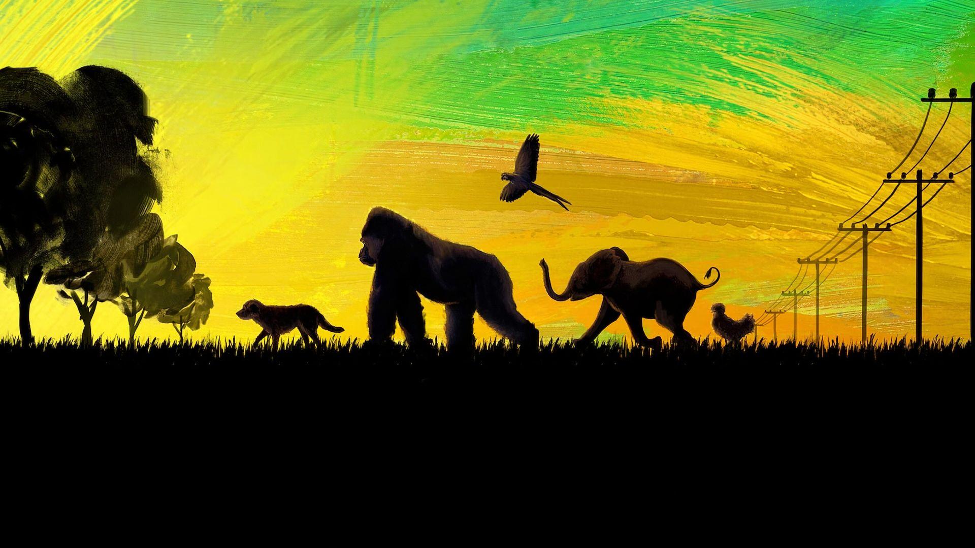 Imagem da capa do filme O Grande Ivan. O fundo possui um degradê do verde até o amarelo, como se fossem pinceladas. Na parte inferior, há um desenho preto simulando uma grama. Sob a grama, está uma fileira de silhuetas de animais, preenchidos de preto e sombreados de amarelo claro, caminhando para o lado esquerdo. O primeiro da fila, próximo ao canto esquerdo, está um cachorro pequeno. O segundo, é um gorila andando sobre as quatro patas. O terceiro é uma arara, voando. O quarto, um bebê elefante com a tromba apontando para o céu. O último animal é uma galinha.