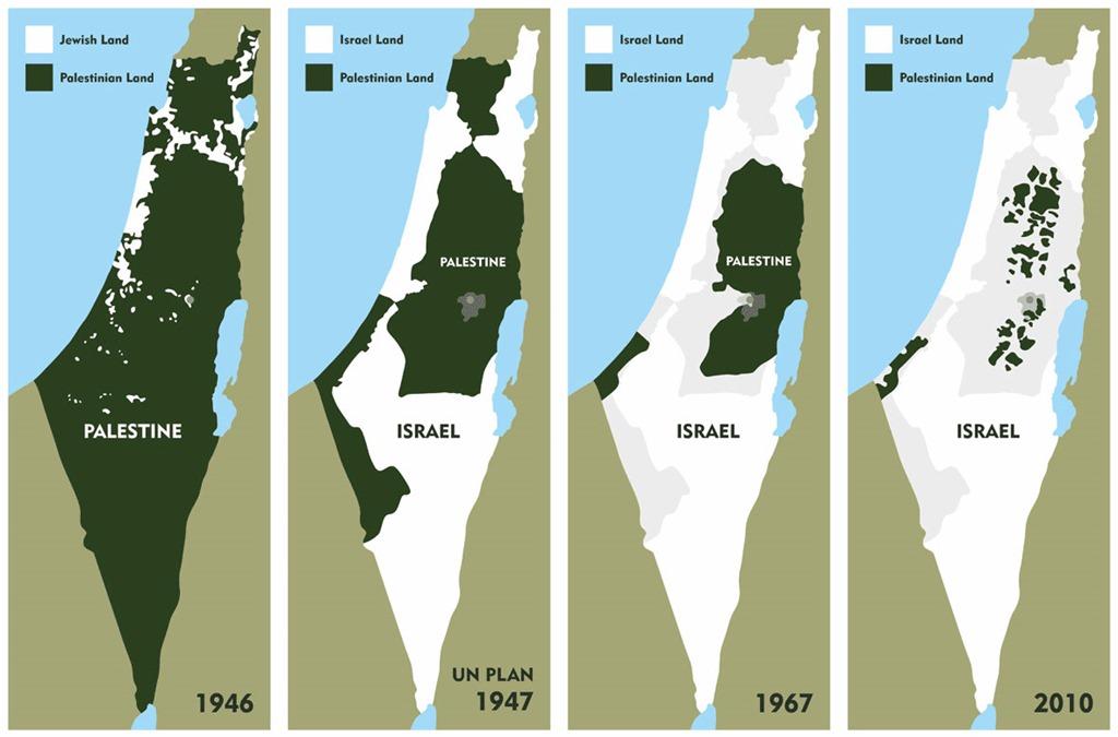 Peça gráfica em formato de 4 mapas. No primeiro mapa, vemos o território Palestino em 1946, com a porção verde (representando os palestinos) ocupando quase a totalidade do mapa. Na costa superior oeste, podemos ver alguns fragmentos de território em posse judaica. O segundo mapa mostra uma representação do Plano de Partilha da ONU de 1947, que ofereceria 54% do território total anterior para Israel, e o restante para a Palestina, com Jerusalém sendo uma cidade de gestão internacional. No terceiro mapa, vemos como a divisão estava em 1967, com Israel ocupando quase a totalidade do território. Apenas a Faixa de Gaza, na costa inferior oeste, e a Cisjordânia, no centro-leste, pertencem à Palestina. No quarto mapa, vemos a divisão atual, em que a Faixa de Gaza e a Cisjordânia estão ainda mais fragmentadas, representando apenas 'manchas' no território total.