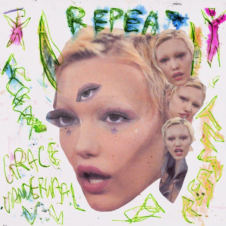 Capa do single Repeat de Grace VanderWaal. Ao centro, vemos uma cabeça flutuante da cantora em um fundo branco. Ao lado direito, do cabelo até a orelha, foram adicionadas três cabeças menores olhando em direção a câmera. Na cabeça principal, foi adicionado um olho na testa. Acima da cabeça, foi escrito REPEAT com lápis colorido. Foram feitos rabiscos em volta, e escrito GRACE VANDERWAAL.