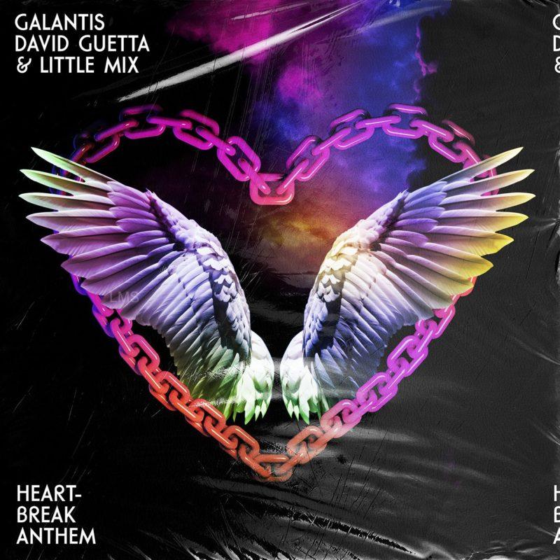 Foto da capa do single 'Heartbreak Anthem'. A imagem tem um fundo preto e ao centro um coração formado por uma corrente colorida. Dentro da corrente, há asas, também coloridas. No canto superior esquerdo, está escrito 'GALANTIS DAVID GUETTA & LITTLE MIX' e no canto inferior esquerdo está escrito 'HEART-BREAK ANTHEM'.