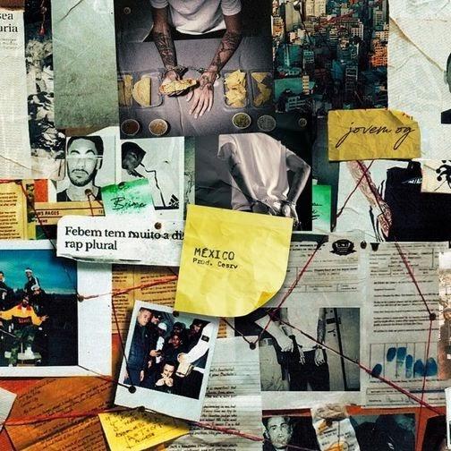 Fotomontagem apresenta vários recortes amassados dispostos em superfície vertical. Chamadas de jornal sobre o rapper, fotografias de pessoas e da cidade de São Paulo, e vários pedaços de papel em amarelo com anotações estão entre os recortes. Uma linha vermelha imitando uma trama de investigação policial passa por cima dos recortes.