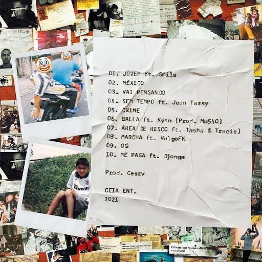 Fotomontagem, da esquerda para a direita, uma fotografia polaroid mostra dois jovens em uma moto e um emoji de palhaço cobre o rosto de um deles, ele usa calça preta, camiseta branca e tênis azul. O outro usa camiseta azul e bermuda azul e vermelha. Abaixo, outra fotografia polaroid mostra Febem quando criança, sentado em um gramado vestido com uma camiseta do Corinthians branca e shorts cinza. Ao fundo recortes de chamadas e outras imagens. Em destaque a lista de faixas e colaborações do álbum em um fundo de papel amassado na cor branca.