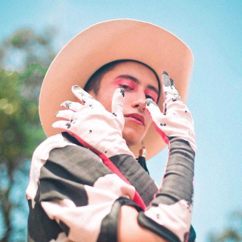 Fotografia da capa do single cover Cowboy Fora da Lei, do cantor Gabeu. No centro está o cantor, um homem branco de cabelos castanhos e curtos. Ele está vestindo uma camisa e luvas com estampa de couro de vaca, e detalhes em rosa. Também está vestindo um chapéu de cowboy branco e usando maquiagem em tons de rosa.