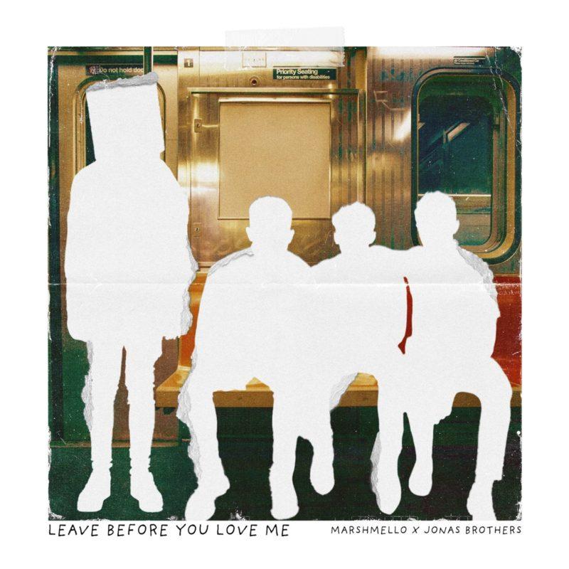 """Foto quadrada da divulgação da música """"Levar Before You Love Me"""", de fundo branco. Dentro de um quadrado, estão presentes as silhuetas do DJ Marshmello em pé (no lado esquerdo), seguidos de Nick Jonas, Joe Jonas e Kevin Jonas sentados num vagão de metrô. O banco é vermelho e amarelo. No canto inferior esquerdo, abaixo do quadrado e na parte branca, está escrito """"Leave Before You Love Me"""" em letras maiúsculas, pretas e finas. Do lado, está escrito """"Marshmello X Jonas Brothers"""" em letras maiúsculas, pretas e finas, de tamanho menor."""