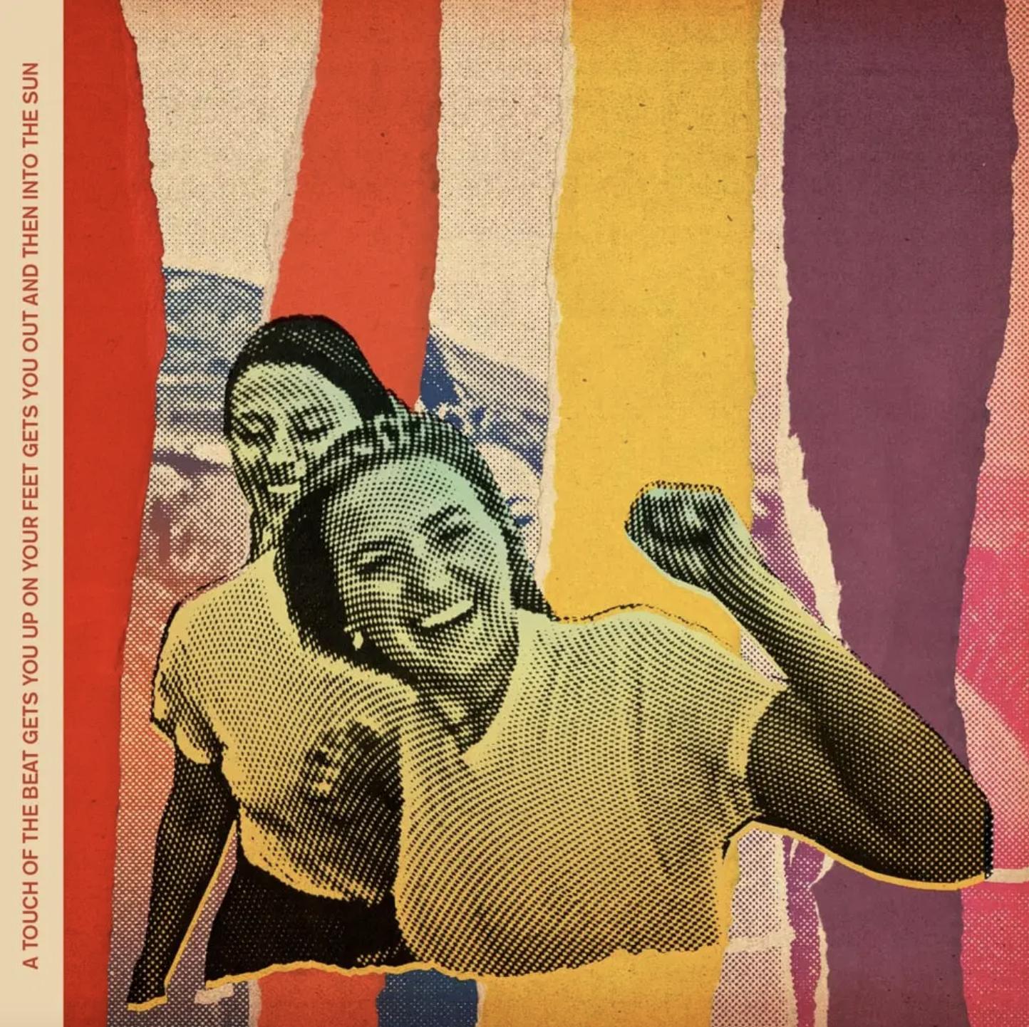 """Capa do álbum """"a touch of the beat gets you up on your feet gets you out and then into the sun"""", do duo pop Aly & AJ. Estilizado como uma colagem, as irmãs Aly e AJ Michalka estão no centro, caminhando para frente, AJ andando um pouco à frente de Aly, com os braços levantados, prestes a comemorar. Atrás delas, uma figura similar, com várias partes rasgadas que revelam diferentes cores por trás: laranja, amarelo e púrpura. Escrito verticalmente na borda esquerda da capa está o título completo do disco."""