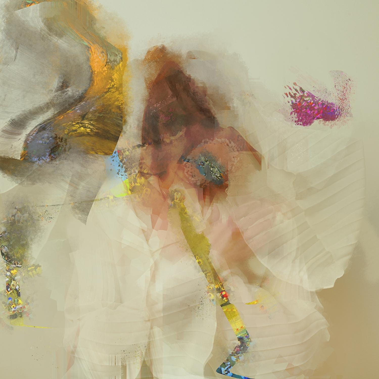 Capa do CD Head of Roses, do projeto Flock of Dimes. Na capa, vemos uma mistura de tintas, sem formas definidas e delimitadas. A capa é clara, tem tons de azul, amarelo, marrom, preto e cinza. Pense no material que mistura tintas do pintor, após um longo dia de trabalho, a capa desse álbum se parece com isso.