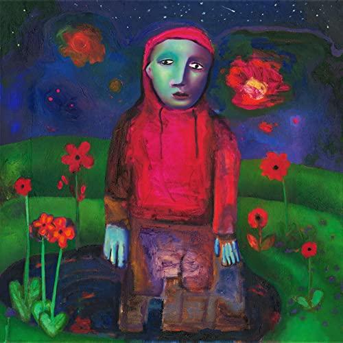 """Capa do álbum """"if i could make it go quiet"""". A imagem é uma pintura. Ao centro, há uma pessoa sem traços definidos, vestindo um moletom com capuz vermelho e uma calça jeans larga. Ao fundo, vemos o céu pintado em tons de azul escuro e flores vermelhas flutuando nele, um jardim verde com flores vermelhas espalhados e um lago."""