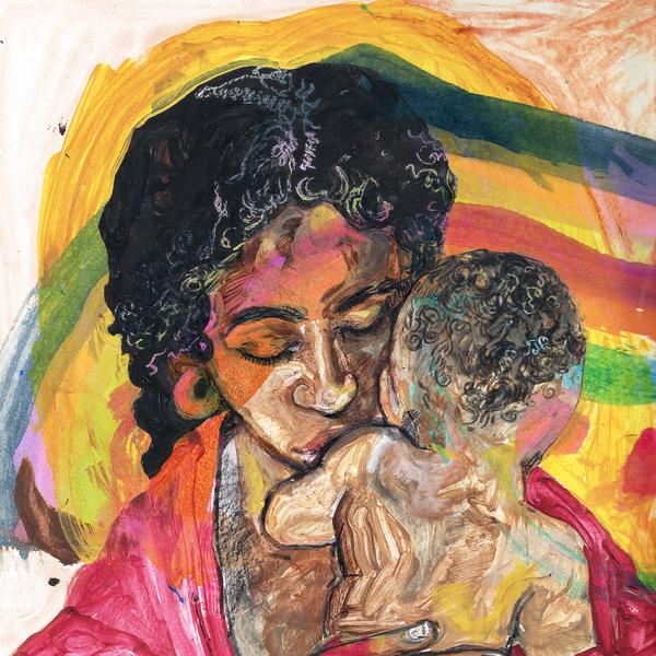 Capa do disco For My Mama and Anyone Who Look Like Her. Nela, vemos um desenho em aquarela de uma mulher negra segurando um bebê no colo. Cores vivas, como vermelho, verde, amarelo e verde pintam por cima das figuras. O fundo é branco, criando um belo contraste.