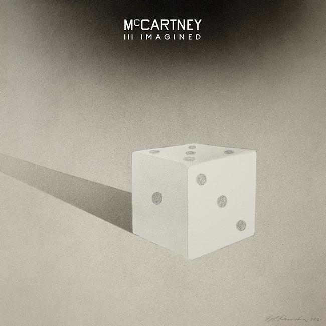 Capa do CD McCartney III Imagined. No topo, o nome do disco está em branco, em um fonte centralizada e média. No centro, vemos um dado branco que cria uma sombra que segue até o limite da imagem.