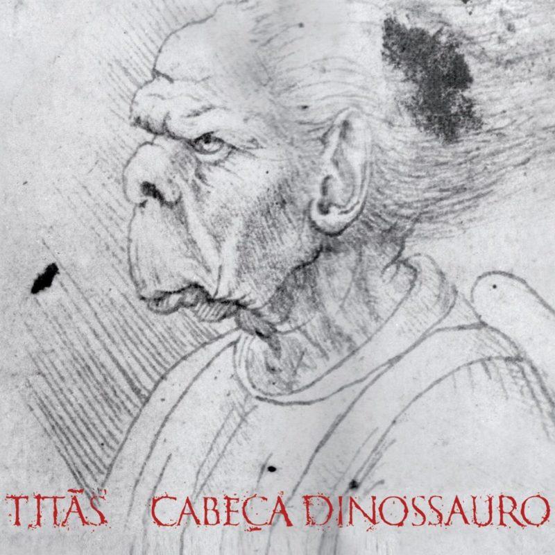 Contracapa do álbum Cabeça Dinossauro. A imagem mostra um rascunho do desenho Cabeça Grotesca, em que um homem carrancudo, com nariz arrebitado, orelhas grandes e boca diminuta está ilustrado como se a lápis. Ele está de perfil. Embaixo, o nome TITÃS CABEÇA DINOSSAURO está em vermelho.