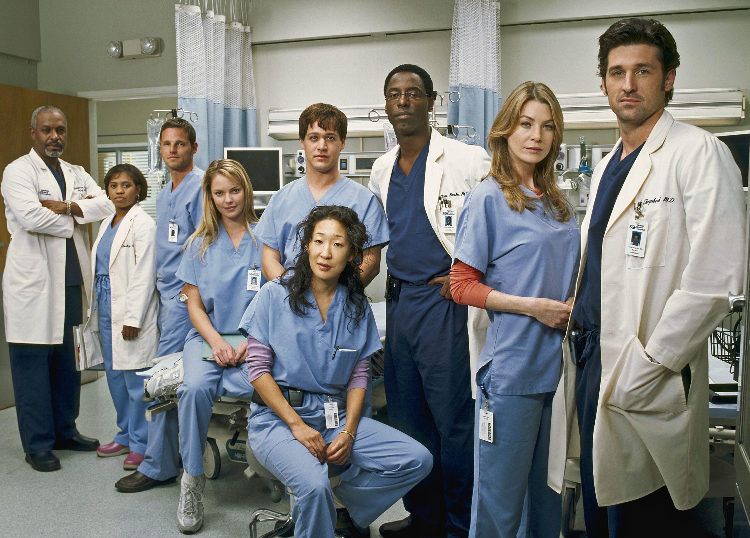 Imagem da série Grey's Anatomy. Na imagem, da direita para a esquerda, um homem branco de cabelos pretos usando uma roupa hospitalar azul escura e jaleco de médico branco. Ao seu lado, uma mulher branca loira usando uma roupa hospitalar azul clara e, por baixo, uma blusa de manga comprida laranja. Seguindo, há um homem negro, de cabelos pretos, usando uma roupa hospitalar azul escura e jaleco branco de médico. A sua frente, sentada em um banco, está uma mulher branca de cabelos pretos usando uma roupa hospitalar azul clara. Depois, um homem branco de cabelos castanhos, usa a mesma roupa azul clara hospitalar, assim como uma mulher branca loira ao seu lado, que também está sentada, agora em uma maca de hospital. Seguinte, um homem branco, de cabelos castanhos, usando a roupa azul clara hospitalar e uma mulher negra, de cabelos pretos, usando a roupa azul clara hospitalar e um jaleco branco de médico, ela ainda segura uma prancheta na mão direita. Por fim, um homem negro, de cabelos pretos, usando roupas hospitalares azul escura e o jaleco branco de médico. Ao fundo, podemos ver macas de hospital e cortinas.