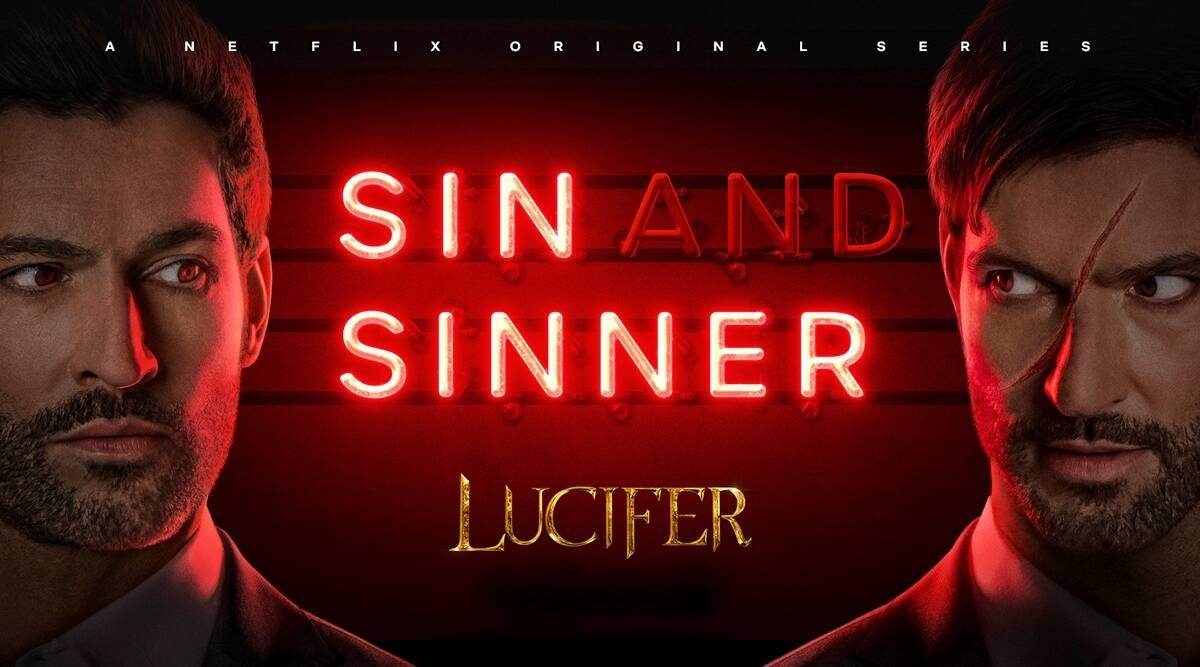 """Poster de divulgação da série Lúcifer. O poster é retangular, com fundo vermelho. À esquerda, está o rosto de Lúcifer com os olhos vermelhos. Ele é um homem branco, tem barba rala na cor marrom escuro, da mesma maneira que seu cabelo e sua sobrancelha. Há sombreamento vermelho do lado direito de sua face. Logo depois, centralizado, encontram-se os escritos """"SIN AND SINNER"""", em letreiro de néon vermelho, e """"Lúcifer"""" em dourado. Por fim, à direita do poster, está Miguel, o irmão gêmeo de Lúcifer. Ele possui as mesmas características físicas do Lúcifer, mas com uma cicatriz que começa na testa e termina na bochecha. Há um sombreamento vermelho no lado esquerdo de sua face."""