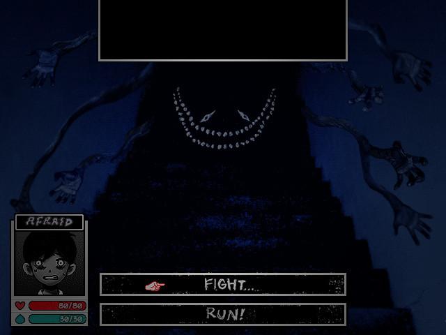 """A imagem é um desenho, com aspecto escuro e elementos de terror, no estilo de RPG: ícone do personagem Sunny em preto e branco, com a palavra """"apavorado"""" em cima representando suas emoções, e abaixo sua barra de vida em vermelho e de 'magia' em azul. Ao lado do ícone, as opções """"lutar..."""" ou """"fugir!"""" estão disponíveis. O cenário é composto por um monstro preto, com olhos tortos e um sorriso largo, de muitos dentes, descendo uma escada. Sete braços se esticam na direção do protagonista."""