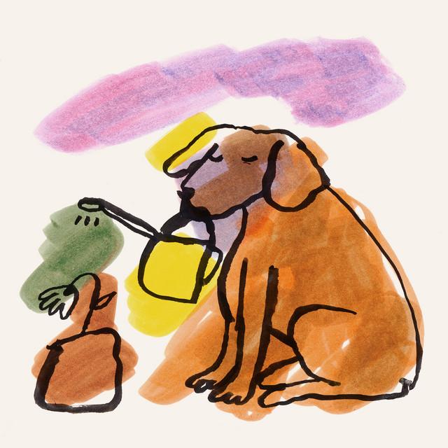 Capa de Man's Best Friend. Desenho de um cachorro sentado, de olhos fechados, segurando um regador de planta pela boca. Ele está regando uma flor que está a sua frente, colocada em um vaso. O desenho é preto com tinta borrada por trás, colorindo o cachorro e a flor de marrom, o regador de amarelo, a água de verde e um céu de tons de roxo e rosa.