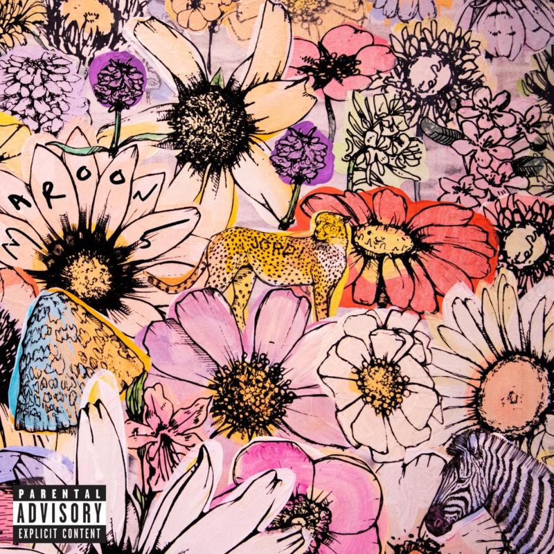 Capa do álbum JORDI. Mostra muitas flores desenhadas e entre elas uma zebra, um cogumelo e uma onça pintada, na qual o nome JORDI está escrito. As flores seguem um padrão de cores rosa, roxas, azul e amarelo. No canto inferior esquerdo da imagem vemos o selo de conteúdo explícito.