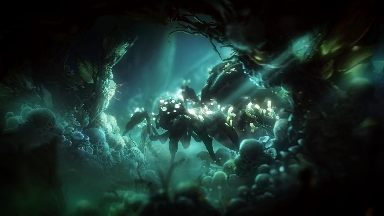 A visão da imagem é por trás de diversos gigantes ovos de aranha que constroem uma margem em sua parte inferior. No centro dela, há a entrada para o ninho de aranha com a mãe dos ovos atravessando-a. A grande aranha possui olhos brilhantes e pequenos fungos que saem de sua pele também brilhando. As principais cores que compõem a imagem são o verde musgo e o preto.