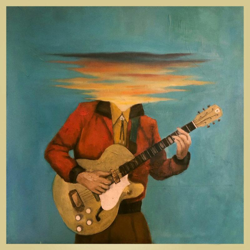 Capa do álbum Long Lost, da banda Lord Huron. A capa tem bordas beges, e mostra o desenho de uma pessoa tocando violão, mas seu rosto está borrado, como se estivesse se refletindo na água. O fundo é azul.