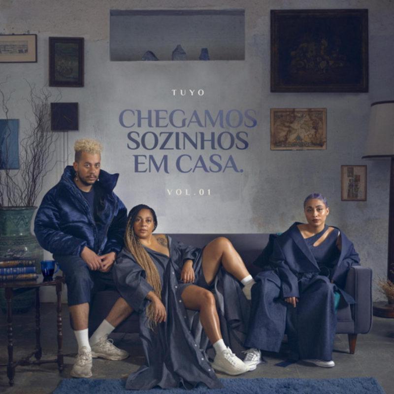 Capa do álbum Chegamos Sozinhos em Casa, da banda Tuyo. A capa é composta por uma fotografia do trio numa sala de estar. A sala possui uma parede cinza clara ao fundo preenchida por quadros abstratos e de paisagens, conversando com a paleta de cores que fica entre o azul escuro e o amarelo envelhevido. O trio está sentado num sofá azul, ao centro da imagem. Primeiro, à esquerda, está Jean, sentado no braço do sofá. Ele é um homem negro, de cabelos loiros raspados nas laterais e volumosos e cacheado em cima. Jean veste blusa, short e camiseta em tons de azul e um tênis de corrida branco. Jean está levemente inclinado para a direita, junta as mãos no colo e encara a câmera com seriedade e com o rosto reto. Ao lado dele, no meio do sofá, está Lio, que apoia as costas e o braço direito em Jean. Lio, uma mulher negra de tranças loiras, está meio dentada no sofá, com o pé direito em cima dele. Lio usa um vestido azul longo de abotoar que está aberto do peito para baixo e um short da mesma cor. Lio também olha para a câmera, com o rosto reto, com seriedade. Ao lado dela, está Lay, sentada no sofá, de frente ara a câmera. Lay, também uma mulher negra, tem cabelos tingidos de roxo. Ela apoia o braço esquerdo no braço do sofá, para onde inclina levemente o corpo. Lay usa uma calça, top e blazer caído sob o ombro, todos no mesmo tom de azul. Na frente do trio, existe um tapete azul. Ao centro, no fundo da parede cinza e atrás do sofá, está escrito o nome do álbum, dividido em três linhas, em caixa alta, num degradê de azul, que é mais escuro no meio. Em cima do nome do álbum, está o nome da banda, em caixa alta, na mesma fonte e em branco. Embaixo do nome do álbum, está escrito 'VOL. 01', na mesma estilização.