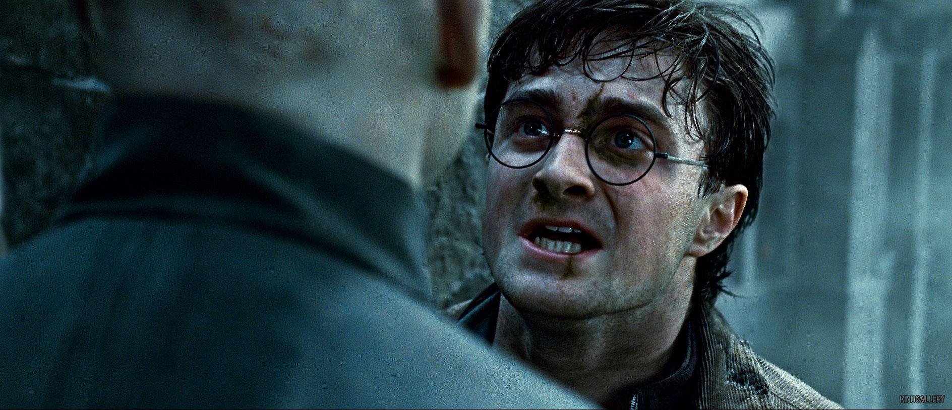 Cena do filme Harry Potter e as Relíquias da Morte: Parte 2. Na cena, vemos Harry, personagem de Daniel Radcliffe, um homem branco que usa óculos redondos, sujo de terra, olhando Voldemort, personagem de Ralph Fiennes, que está de costas. Eles estão à beira de um precipício.