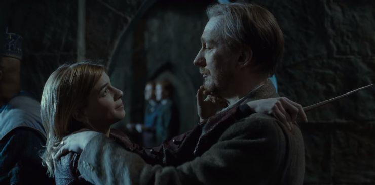 Cena do filme Harry Potter e as Relíquias da Morte: Parte 2. Nela, vemos Remo Lupin e Ninfadora Tonks se abraçando. Eles são adultos, brancos, Lupin é loiro e Tonks tem o cabelo castanho claro. Eles se olham nos olhos, com compaixão.