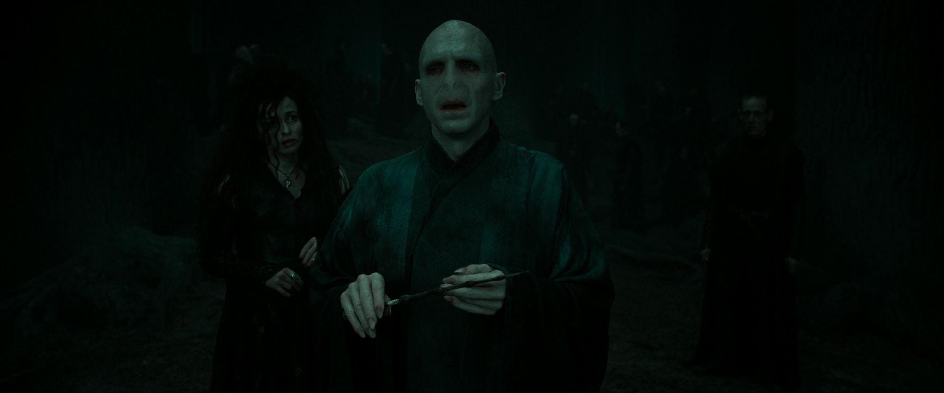 Cena do filme Harry Potter e as Relíquias da Morte: Parte 2. A cena mostra Voldemort na floresta, no escuro e com a Varinha das Varinhas na mão. Atrás dele, e meio desfocada, está Bellatrix Lestrange. Voldemort é careca, tem pele cor de leite e um nariz de cobra. Bellatrix é branca, tem cabelos sedosos pretos e usa um vestido escuro.