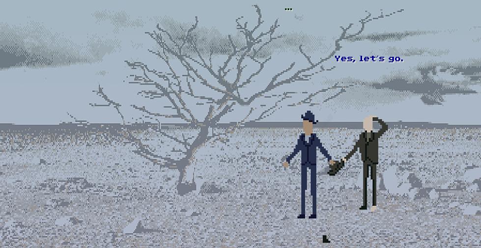 Imagem do jogo Esperando Godot: Uma Simulação exibe um visual pixelado, com dois homens parados em uma paisagem árida. Um dos homens utiliza terno e chapéu azuis enquanto o outro utiliza um terno preto.