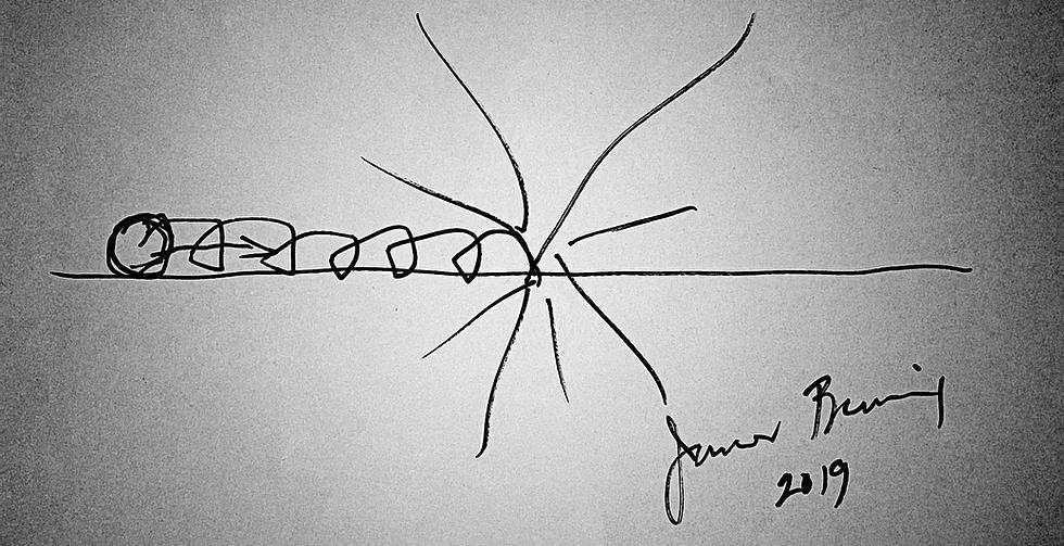 Cena de O Sonho de Benning exibe um desenho simples, feito numa folha, de uma bola rolando até explodir. No canto inferior direito, vemos a assinatura de James Benning e o ano de 2019.