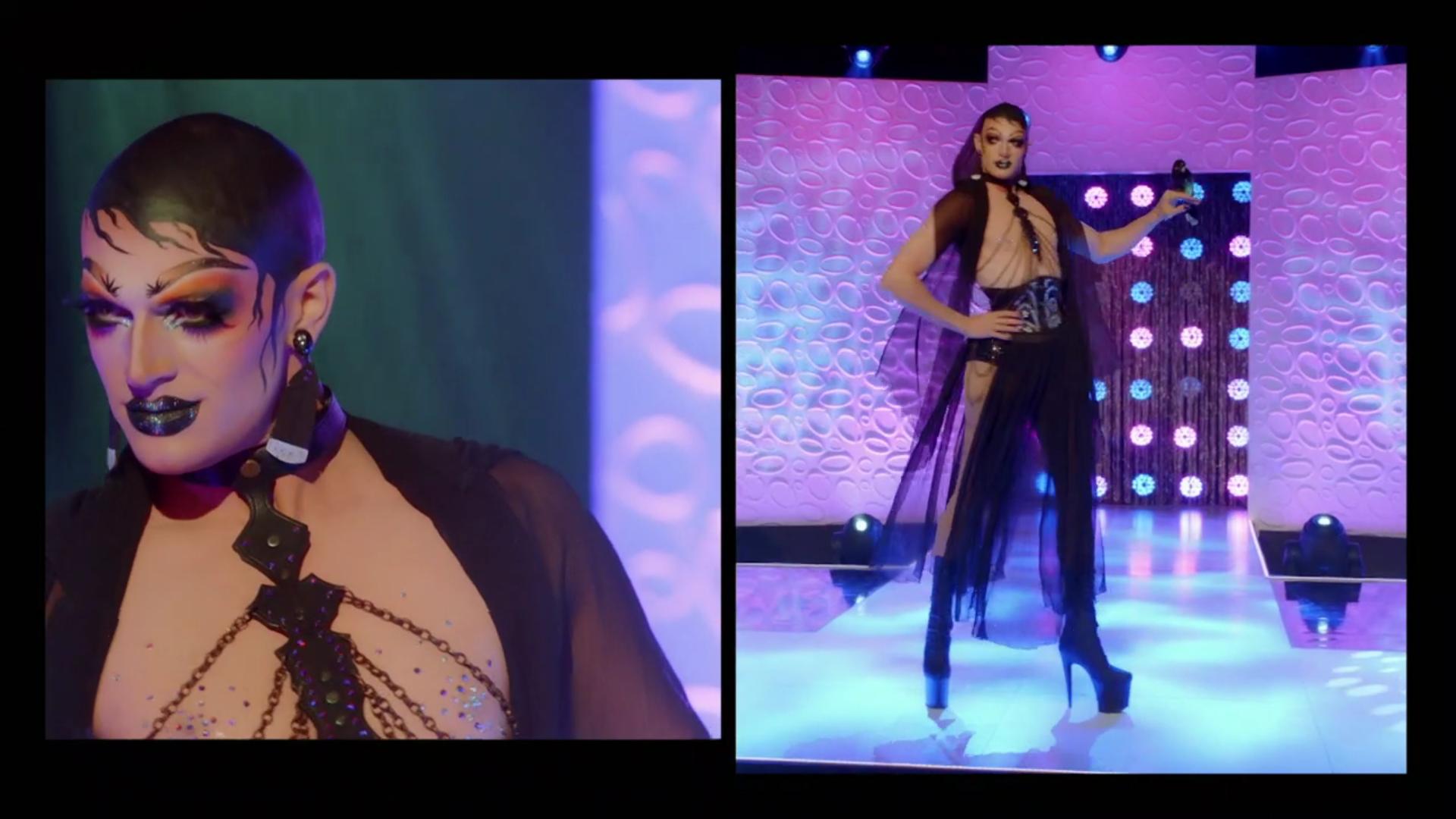 Cena do reality Drag Race Down Under. Na imagem vemos duas fotos da competidora Elektra Shock enquanto ela desfila na passarela. Ela veste uma roupa preta de tecidos de tule caídos e tem o peito a mostra. Sua cabeça careca foi pintada de forma a parecer uma peruca preta. Ela usa salto agulha.