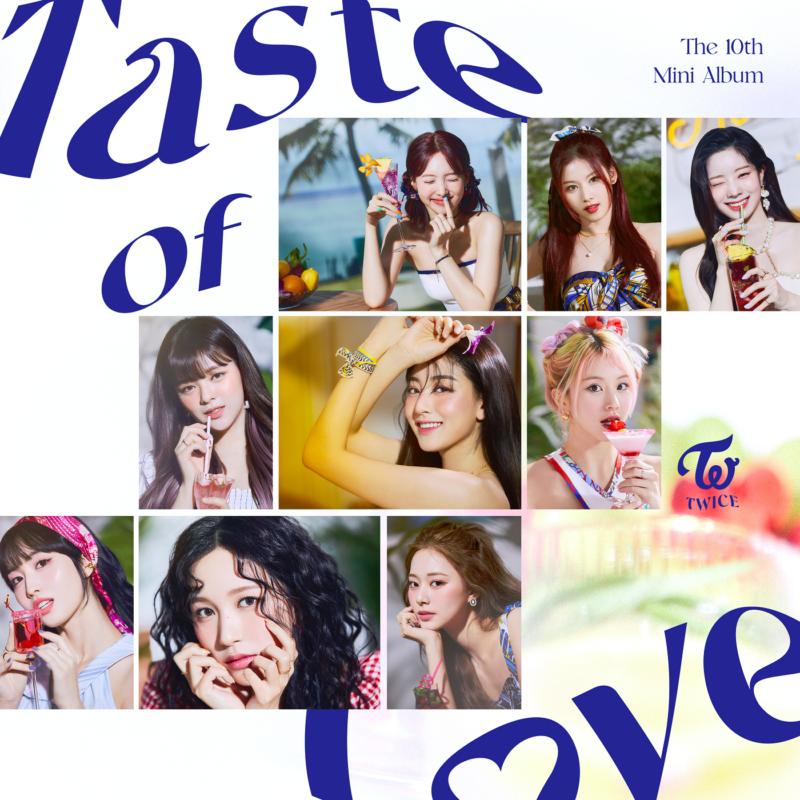 """Capa de Taste of Love. A arte é branca com foto das 9 integrantes espalhadas pela capa, divididas em 3 fileiras com 3 fotos cada. No canto superior esquerdo da imagem está o texto """"Taste of"""", de azul, com um efeito de distorção. No canto inferior direito, com a mesma cor e feito, está o texto """"Love"""". No canto superior direito está o texto """"The 10th Mini Álbum"""" em azul, e um pouco em baixo o logo do grupo Twice."""