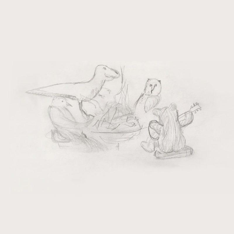 Capa dos singles Little Things e Sparrow, de Big Thief. Imagem quadrada, de um desenho feito à grafite. O fundo é branco como um papel. No centro está o desenho de uma fogueira cercada por um dinossauro, uma coruja, um urso tocando um violão e um pássaro.