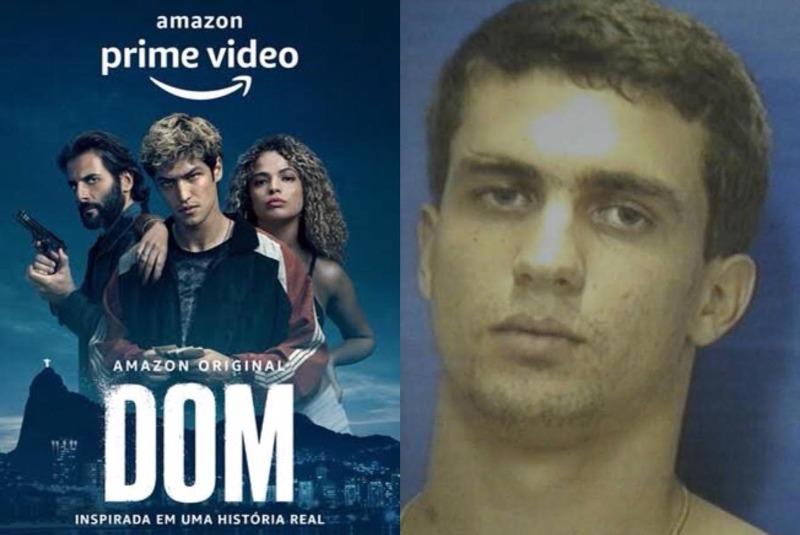 A imagem é uma montagem, à esquerda temos o pôster oficial da série DOM, divulgado pela Amazon Prime Video e a direita temos uma foto de arquivo de Pedro Machado Lomba Neto, o Pedro Dom. Ele é um homem branco, loiro e com olhos azuis.