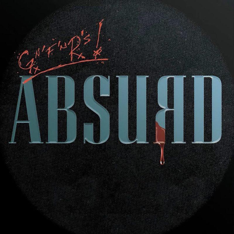 Capa do single ABSURD, do Guns N' Roses. O nome do single está no centro da imagem, com a letra R grafada ao contrário e pingando sangue. Com um fundo preto, a sigla GNFNRS está pintada de vermelho.