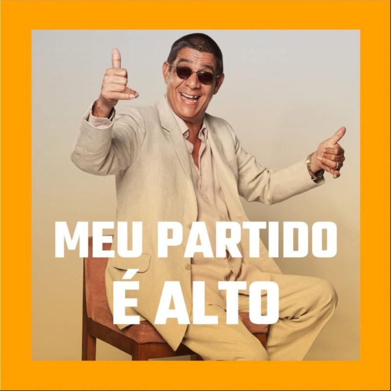 Capa do álbum Meu Partido É Alto!, de Zeca Pagodinho. Zeca está no centro da imagem, que contém uma borda amarela ao redor. Ele usa terno branco, óculos escuros e faz hang loose com as mãos. Na parte de baixo, em letras grandes e brancas, está o nome do CD.