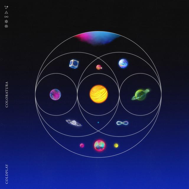 Capa do single Coloratura. A imagem mostra um conjunto de planetas e símbolos coloridos organizados dentro de círculos finos e brancos que se sobrepõem formando uma imagem simétrica, sobre um fundo em degradê de azul e preto.