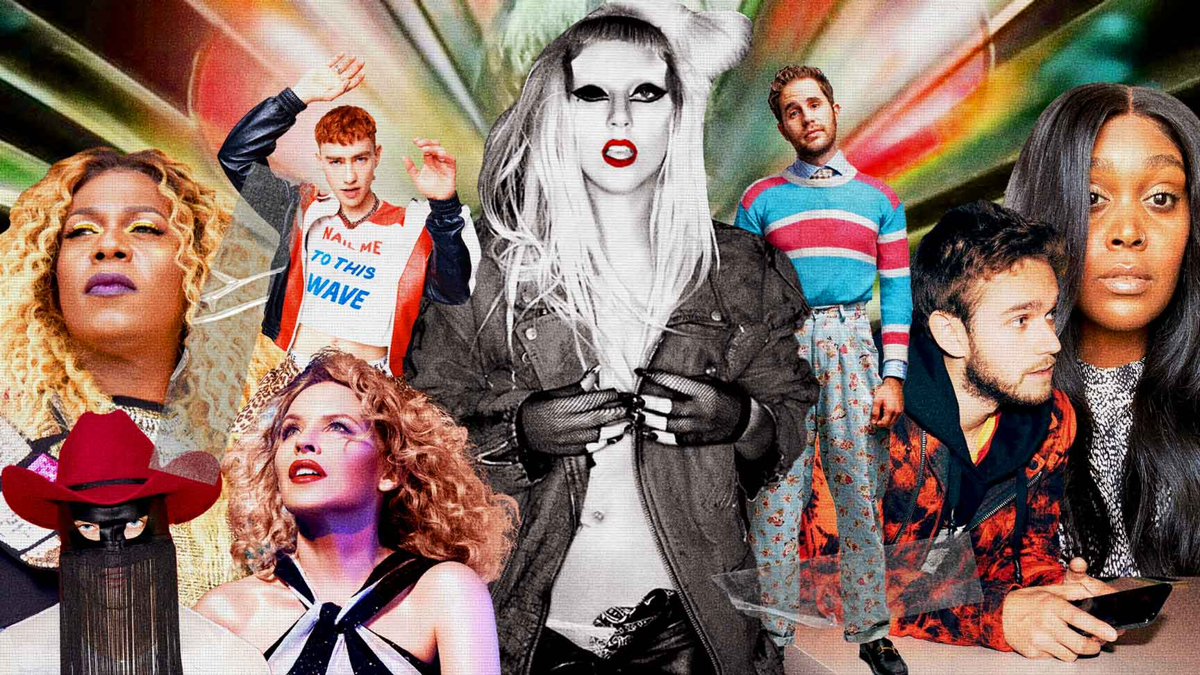 Fundo colorido com a predominância das cores vermelho, verde e amarelo. Montagem dos artistas presentes no Born This Way Reimagined, com Lady Gaga no centro em preto e branco. Ao lado esquerdo Big Freedia, Years & Years, Orville Peck e Kylie Minogue. Ao lado direito da foto, Ben Platt, Zedd e Brittney Spencer