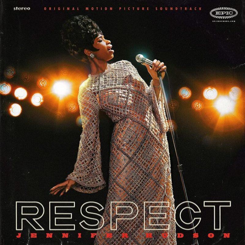 """Capa do álbum de trilha sonora de Respect. A imagem tem a foto de uma mulher negra, de cabelo preso, usando um vestido dourado com detalhes coloridos e brilhantes. Ela está de olho fechado, segurando um microfone, e cantando com o corpo um pouco arqueado para a esquerda. O fundo é preto com luzes fortes e desfocadas. No canto inferior está escrito 'Respect/', de branco e o nome da cantora, em vermelho. No canto superior está, também em vermelho, o texto """"ORIGINAL MOTION PICTURE SOUNDTRACK"""". A sua esquerda está o texto """"stereo"""" e a sua direita """"epic"""", ambos de branco."""